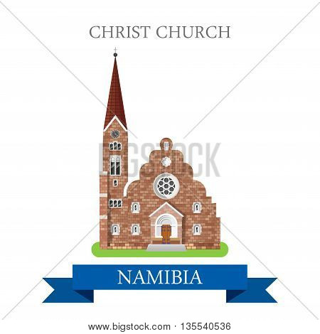 Christ Church in Namibia. Flat cartoon web vector illustration