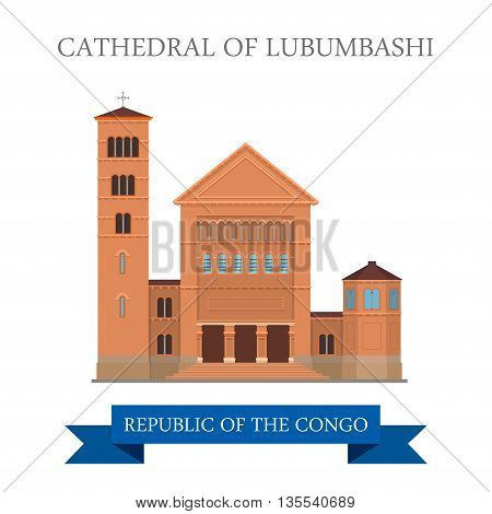 Cathedral of Lubumbashi in Republic of the Congo Flat vector