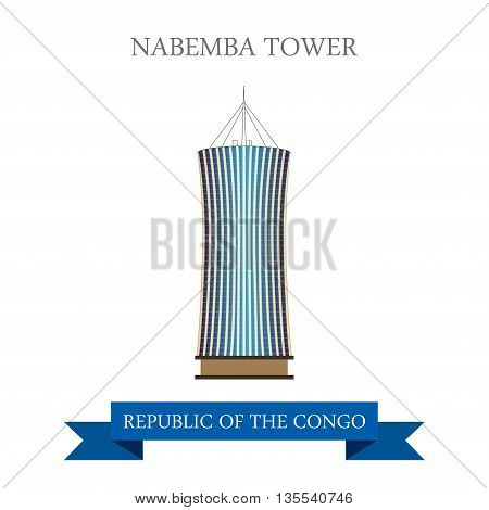 Nabemba Tower in Republic of the Congo. Flat vector illustration