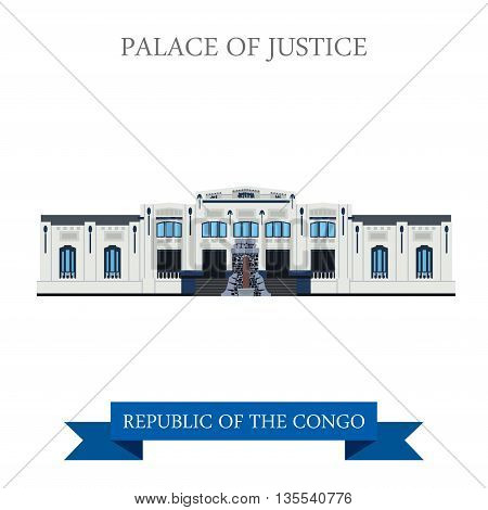 Palace of Justice in Republic of the Congo vector illustration
