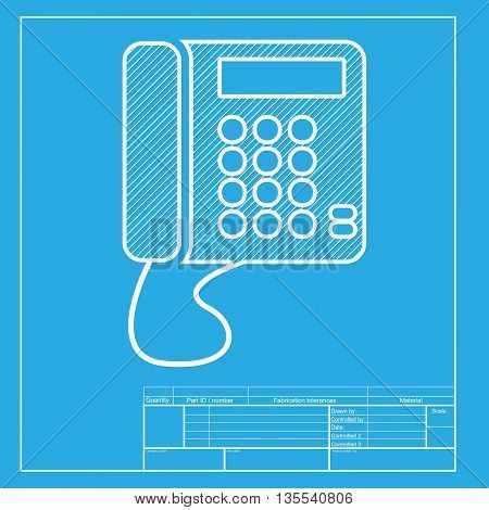 Communication or phone sign. White section of icon on blueprint template.