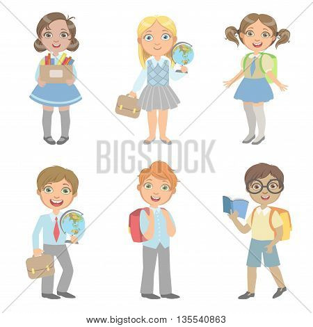 Students With School Bags Set Of Simple Design Illustrations In Cute Fun Cartoon Style Isolated On White Background