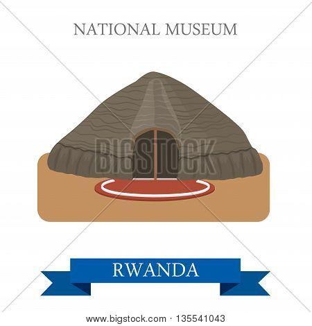 National Museum in Butare in Rwanda. Flat vector illustration