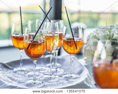 Glasses of wine. Banquet service.