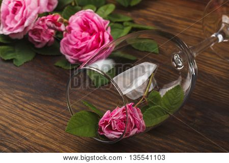 Empty wineglass with small light pink rose inside on the wooden background with blank copy space area for text or slogan