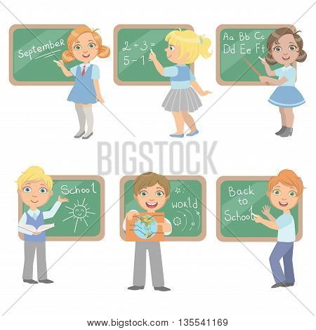 Kids Writing On Blackboard Set Of Simple Design Illustrations In Cute Fun Cartoon Style Isolated On White Background