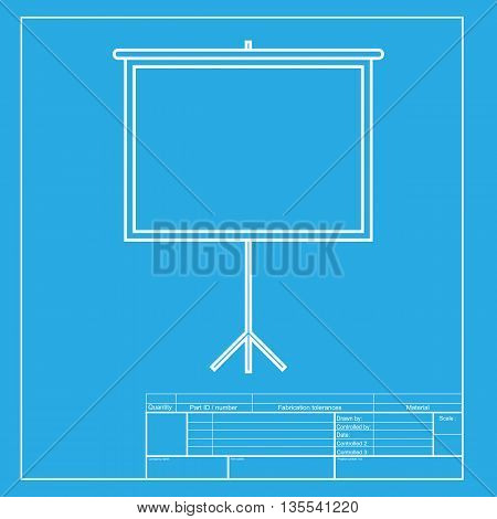 Blank Projection screen. White section of icon on blueprint template.