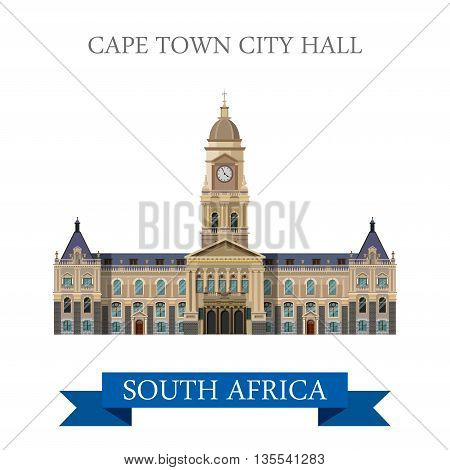 Cape Town City Hall in South Africa Flat web vector illustration