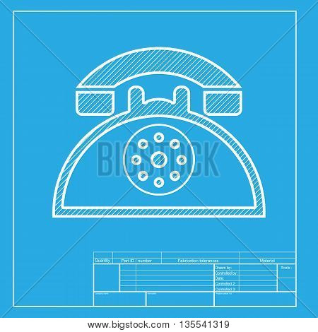 Retro telephone sign. White section of icon on blueprint template.