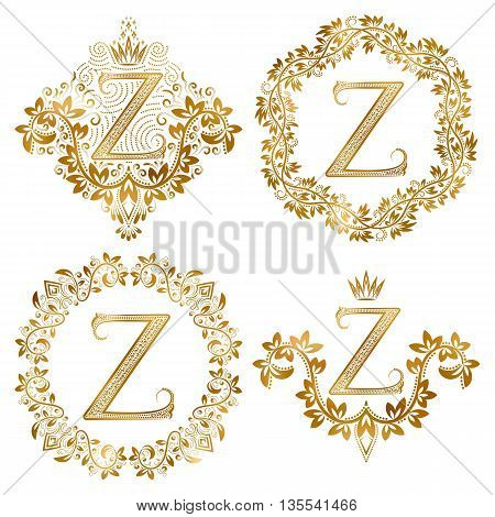 Golden Z letter vintage monograms set. Heraldic coats of arms and round frames.
