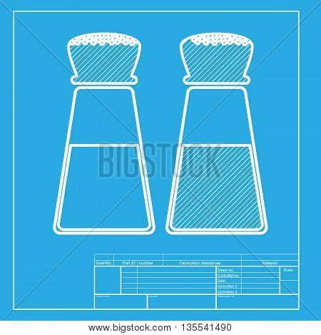 Salt and pepper sign. White section of icon on blueprint template.