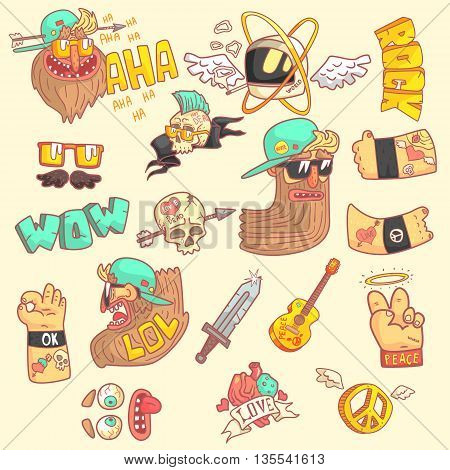 Set Of Stylized Rock Themed Stickers With Cool Symbols In Hand Drawn Flat Vector