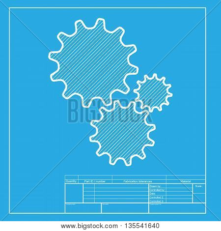 Settings sign illustration. White section of icon on blueprint template.
