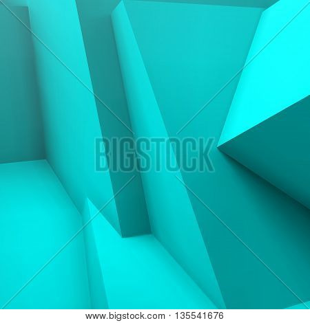 Abstract geometric background with realistic overlapping blue cubes