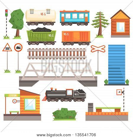 Train Tansport Related Collection Of Icons In Flat Cartoon Colorful Vector Design