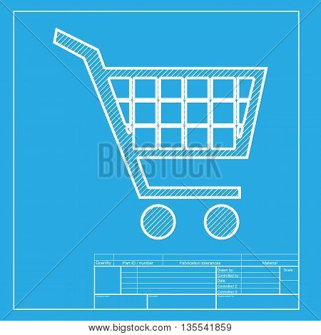Shopping cart sign. White section of icon on blueprint template.