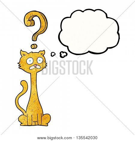 freehand drawn thought bubble textured cartoon curious cat