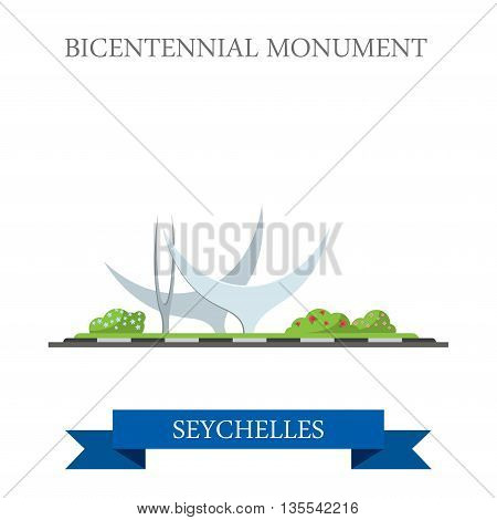 Bicentennial Monument in Seychelles Flat web vector illustration