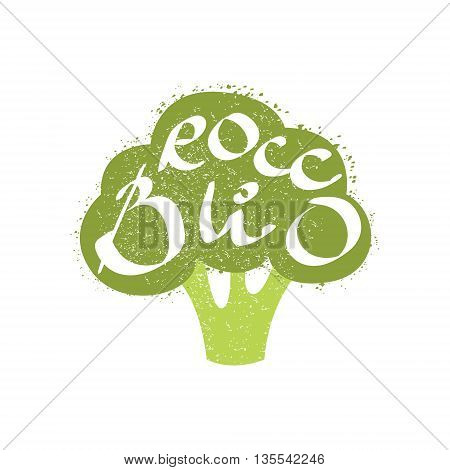 Broccoli Name Of Vegetable Written In Its Silhouette Colorful Trendy Vector Design Sticker Isolated On White Background