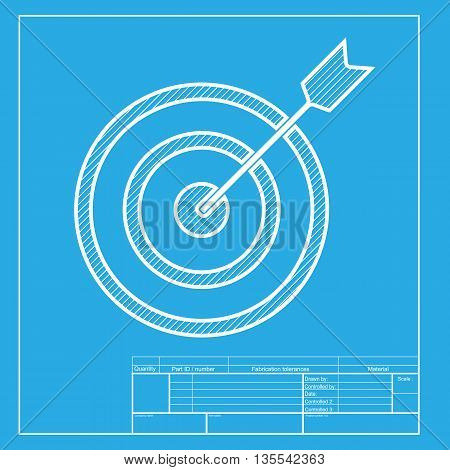 Target with dart. White section of icon on blueprint template.