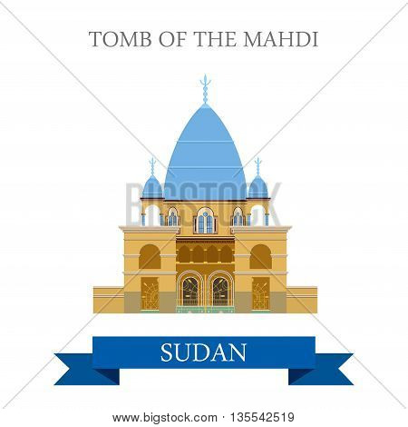 Tomb of Mahdi Sudan Flat style historic web vector illustration