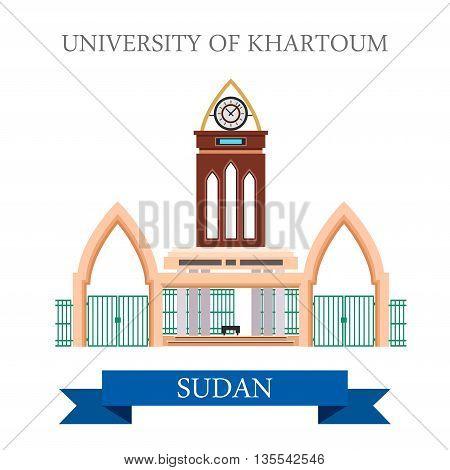 University of Khartoum Sudan Flat style vector illustration