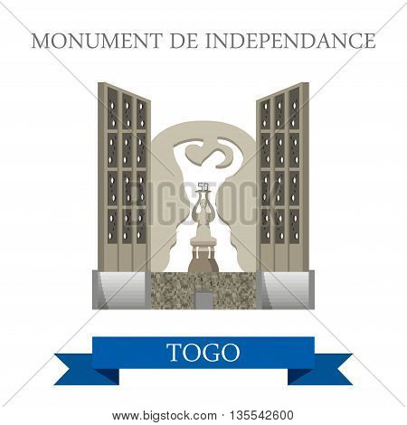 Monument de Independance Togo Flat historic vector illustration