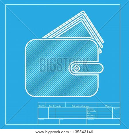 Wallet sign illustration. White section of icon on blueprint template.