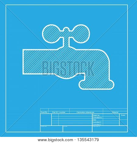 Water faucet sign illustration. White section of icon on blueprint template.