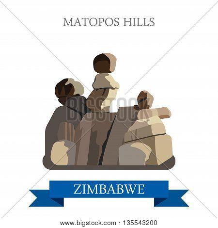 Matopos Hills Zimbabwe Flat historic web vector illustration