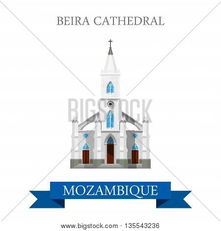 Beira Cathedral Mozambique Flat historic web vector illustration