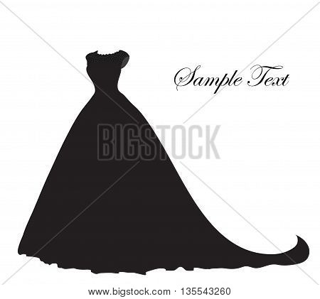 Wedding dress silhouette banner blank template for text white space for your text. Postcard invitation vector illustration