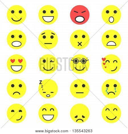 Set of Emoticons. Set of Emoji. Vector illustration
