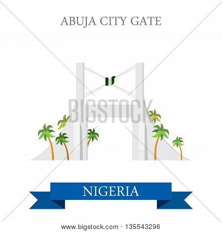 Abuja City Gate Nigeria Flat historic vector illustration