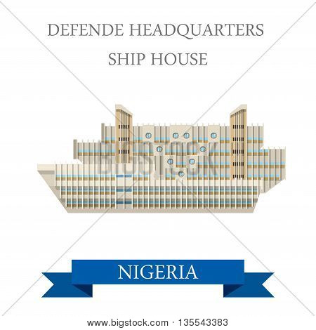 Defense Headquarters Ship House Nigeria Flat vector illustration
