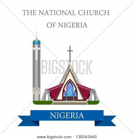The National Church of Nigeria Flat historic vector illustration