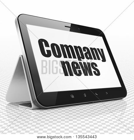 News concept: Tablet Computer with black text Company News on display, 3D rendering