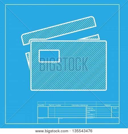 Credit Card sign. White section of icon on blueprint template.