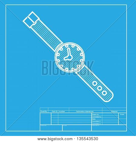 Watch sign illustration. White section of icon on blueprint template.