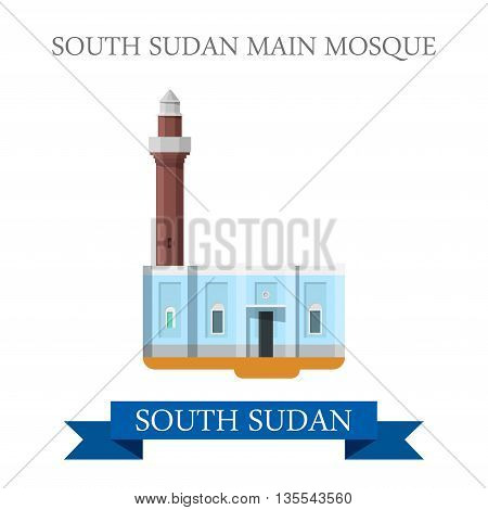 South Sudan Main Mosque. Flat historic web vector illustration