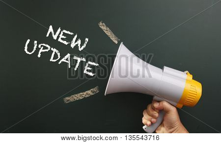 megaphone with text new update