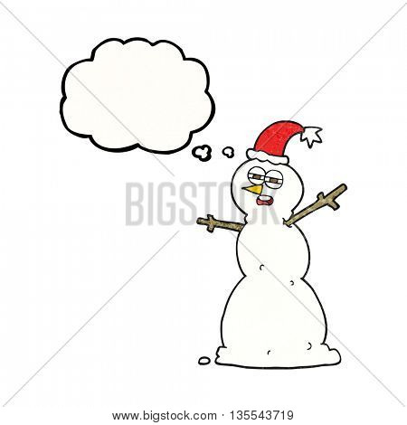 freehand drawn thought bubble textured cartoon unhappy snowman