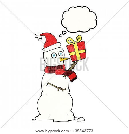 freehand drawn thought bubble textured cartoon snowman holding present