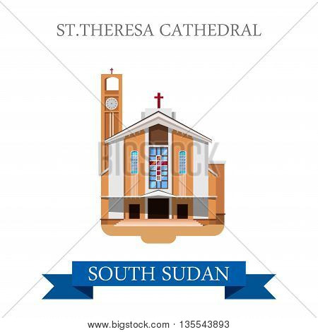 St Theresa Cathedral Juba South Sudan Flat vector illustration