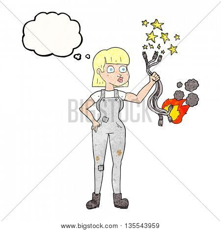 freehand drawn thought bubble textured cartoon female electrician