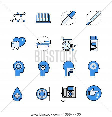 Medical science equipment lineart web flat vector icon set.
