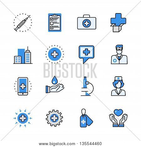 Health care medical help emergency lineart web flat vector icon