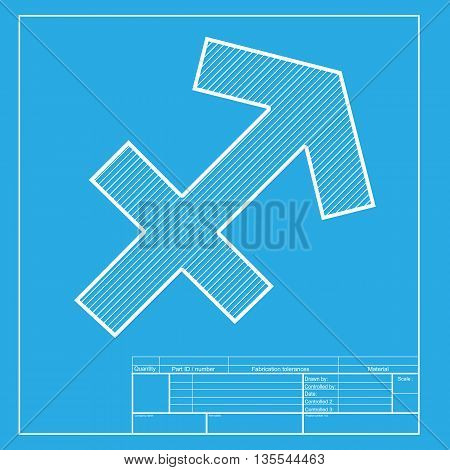 Sagittarius sign illustration. White section of icon on blueprint template.