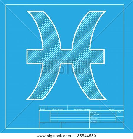 Pisces sign illustration. White section of icon on blueprint template.
