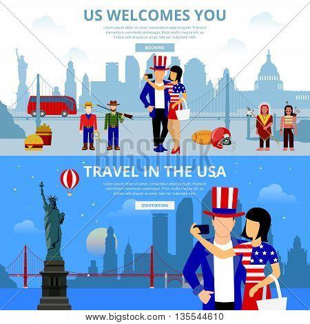 Travel flat illustration USA landmarks People New York Brooklyn
